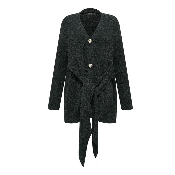 V neck front buttons knee length knit cardigan