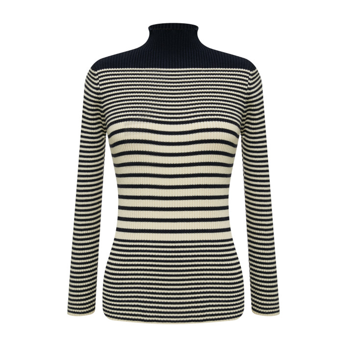 High neck classic striped knit top
