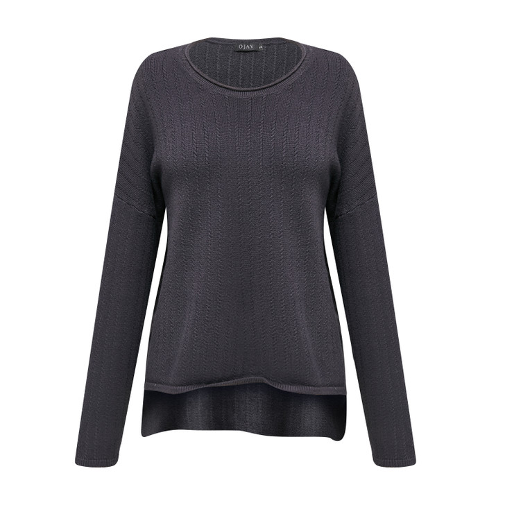 Drop back round neck knit top
