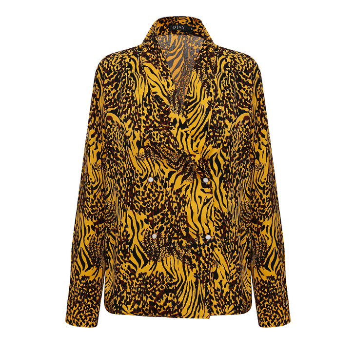 Double breasted animal print shirts