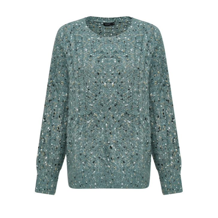 Mixed yarn round neck knit top