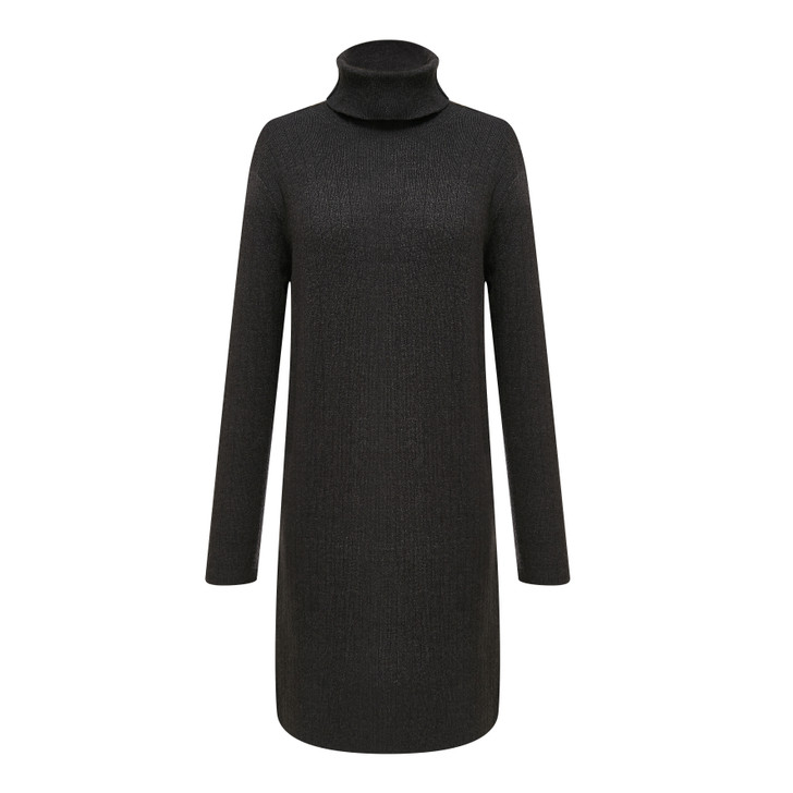 Turtle neck long sleeve shift dress with a cute pocket