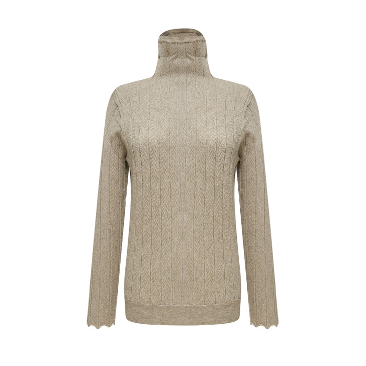 Turtle neck mixed glittery gold knitted top