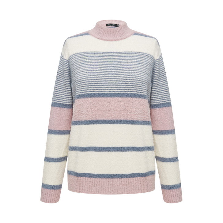 High neck striped fluffy knit top