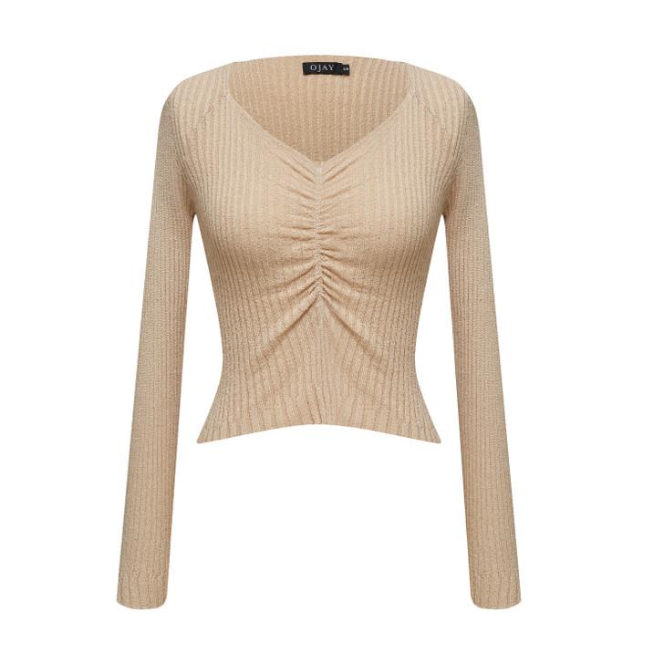 Scoop neck long sleeve knit top