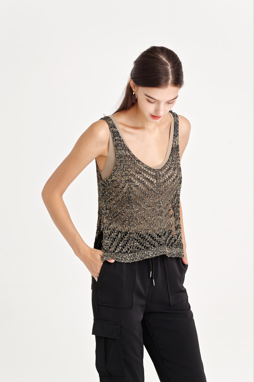 Sequin Net Knit Top