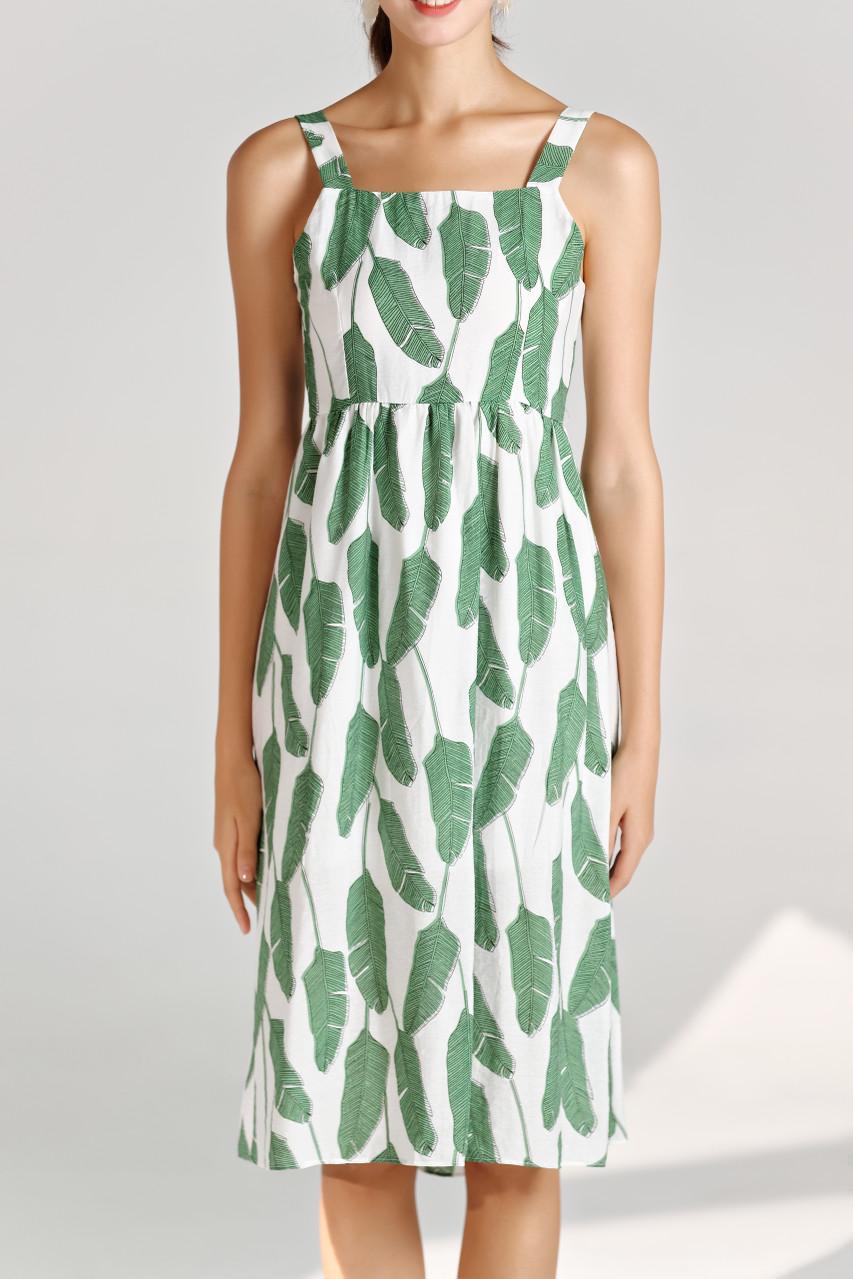 Leaf Print Fit&Flare Dress