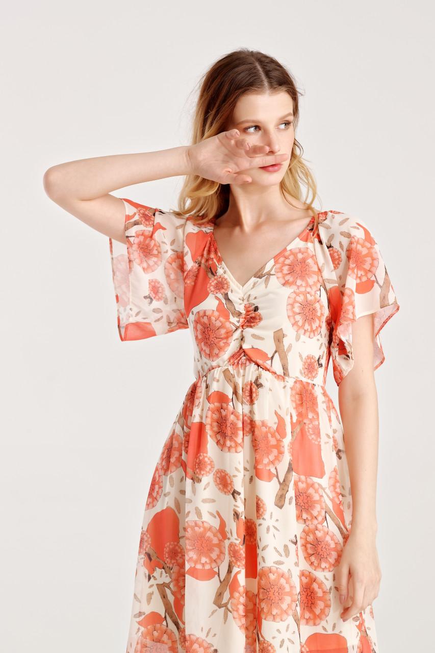 Flower Print Chiffon Dress