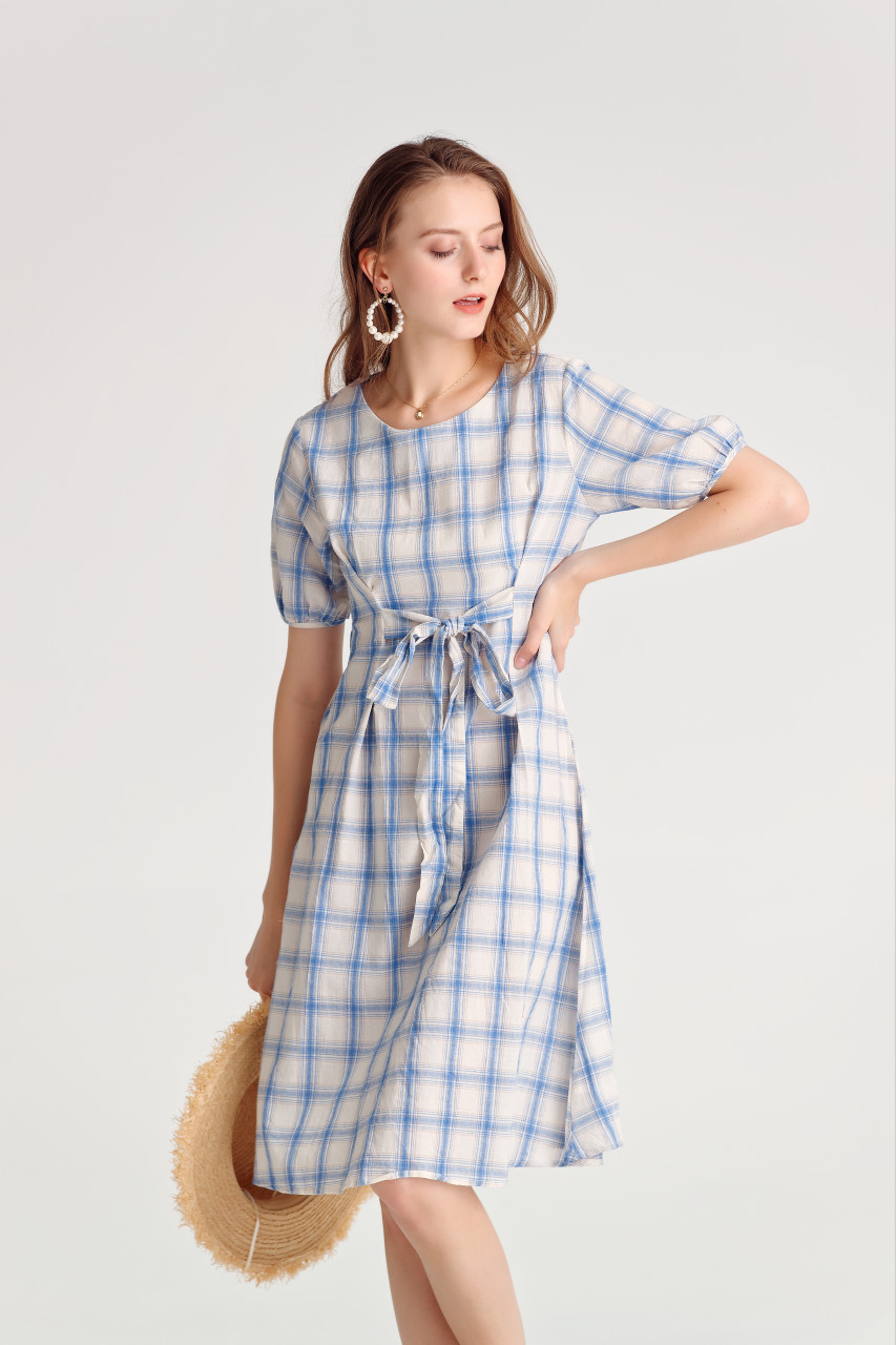 Check Volume Sleeve Dress