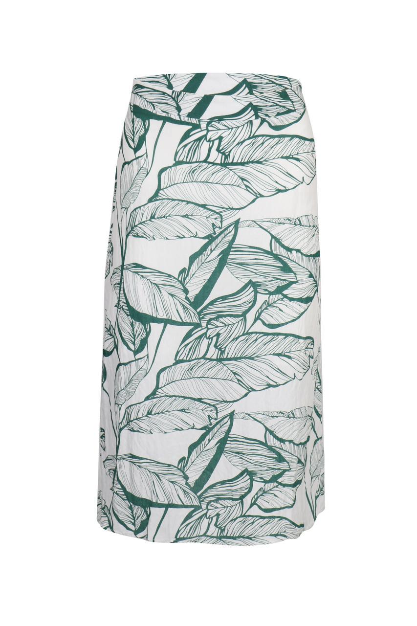 Leaf Print Slim Skirt