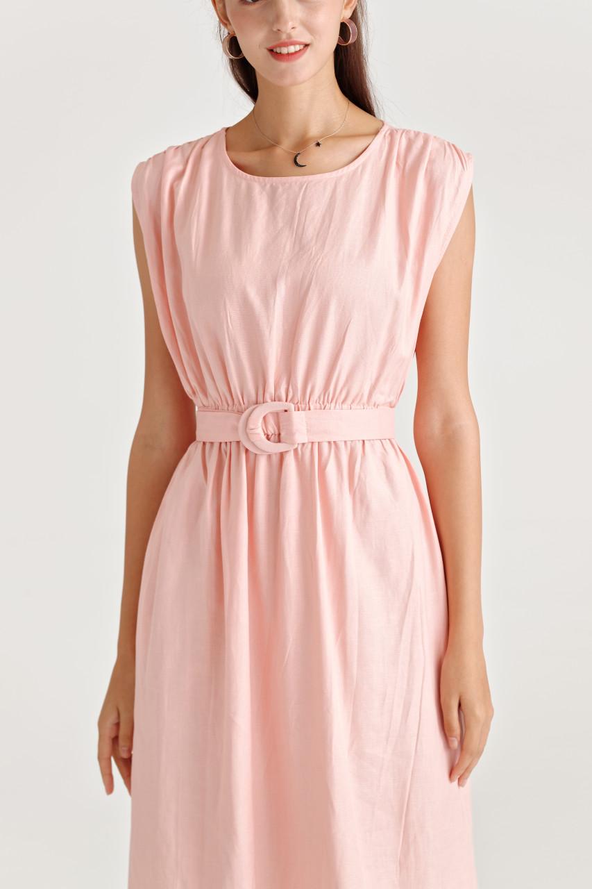Wide Shoulder Belted Dress