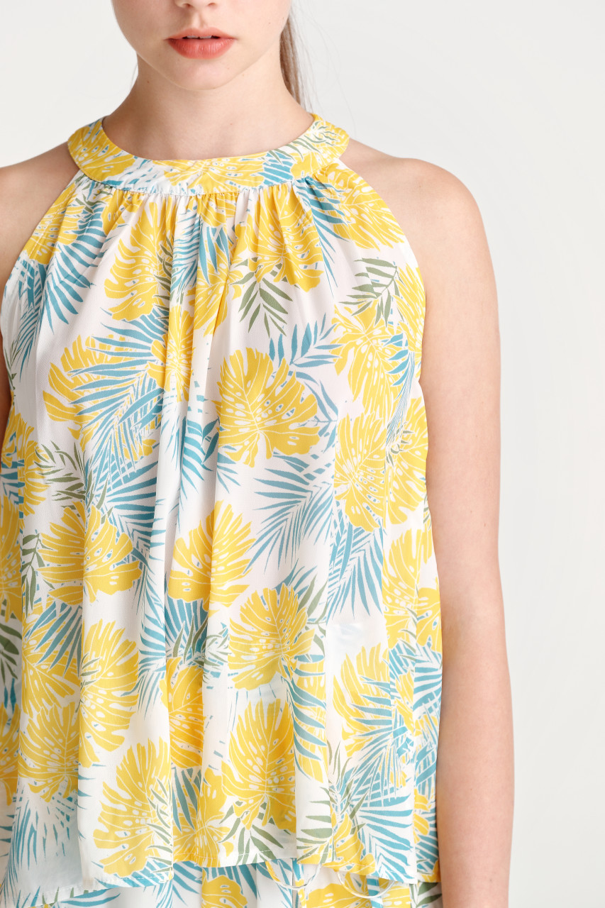 Halter Neck Tropical Print Cami Top