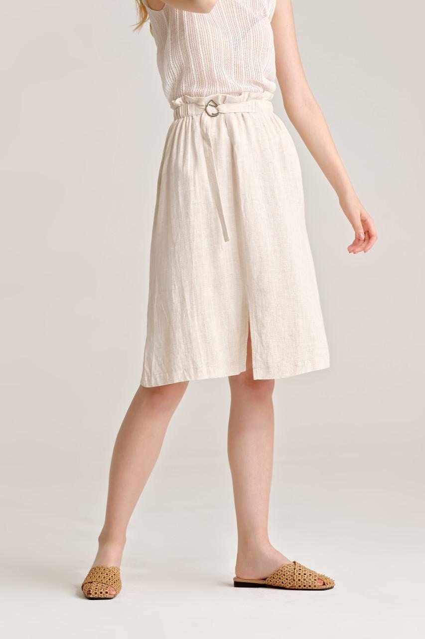 Linen like Front Slit Skirt