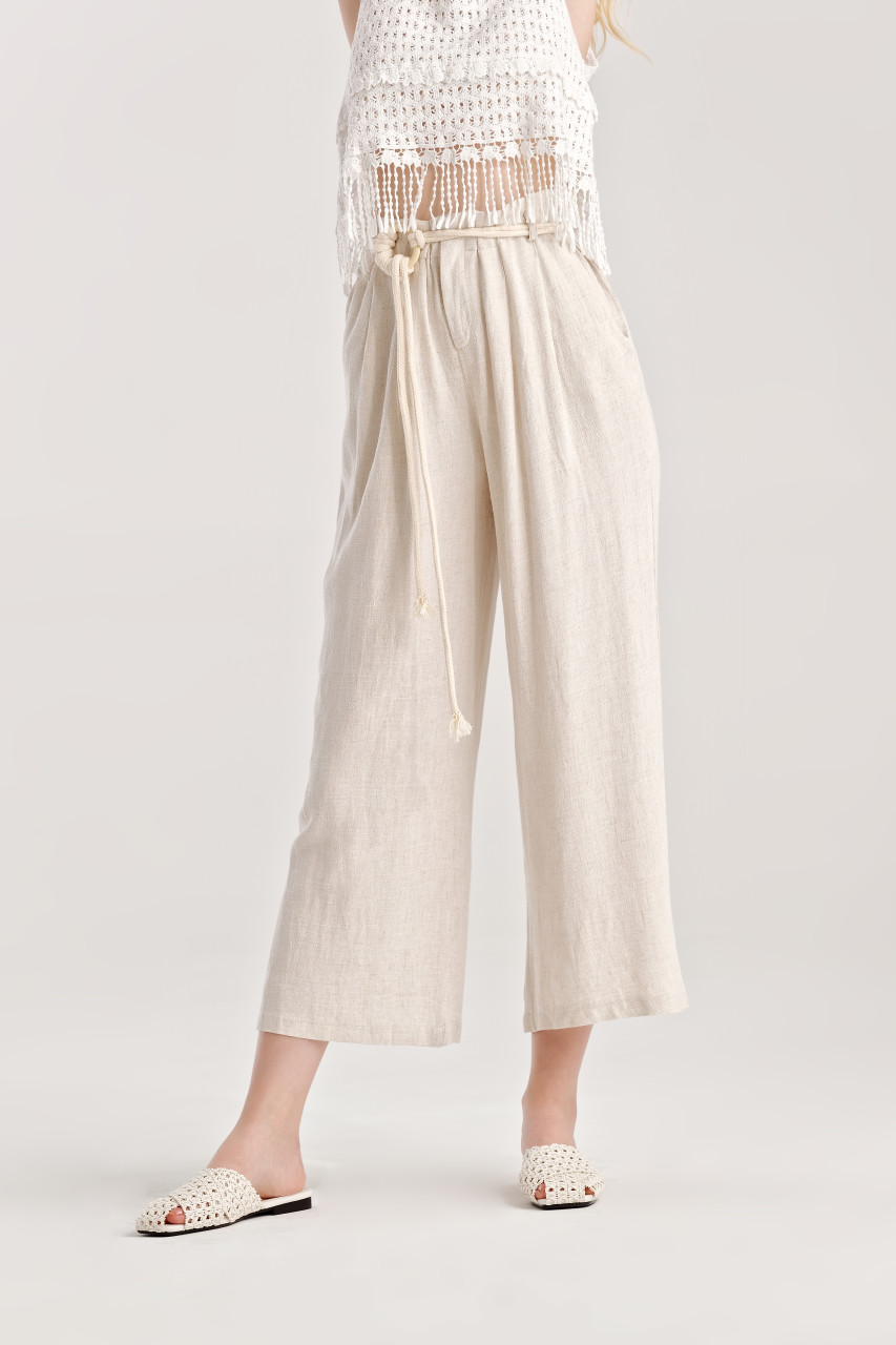 Linen like Wide Leg Pants
