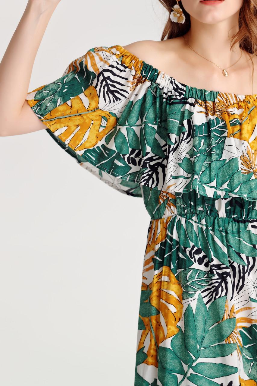 Tropical Off-Shoulder Dress