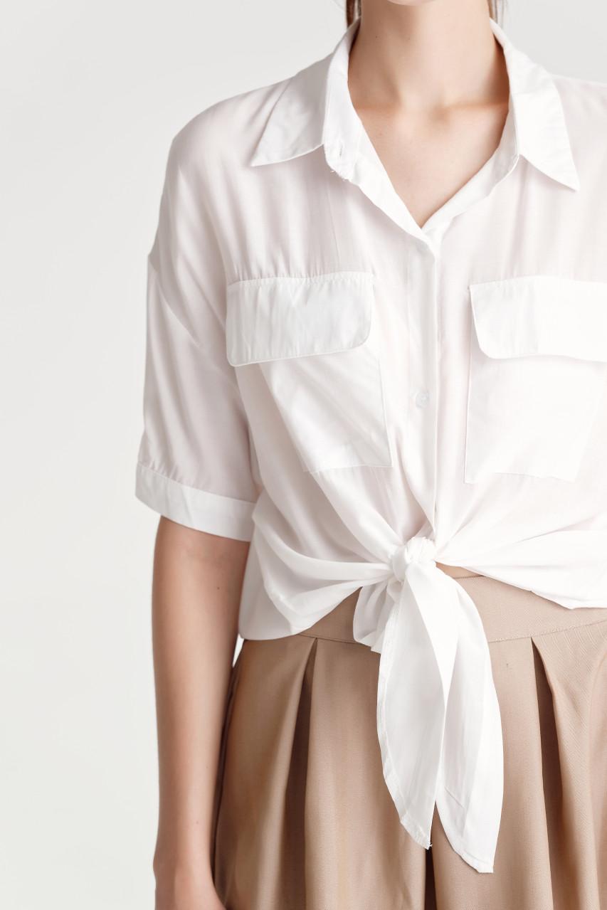 Front Knot Drop Shoulder Shirt