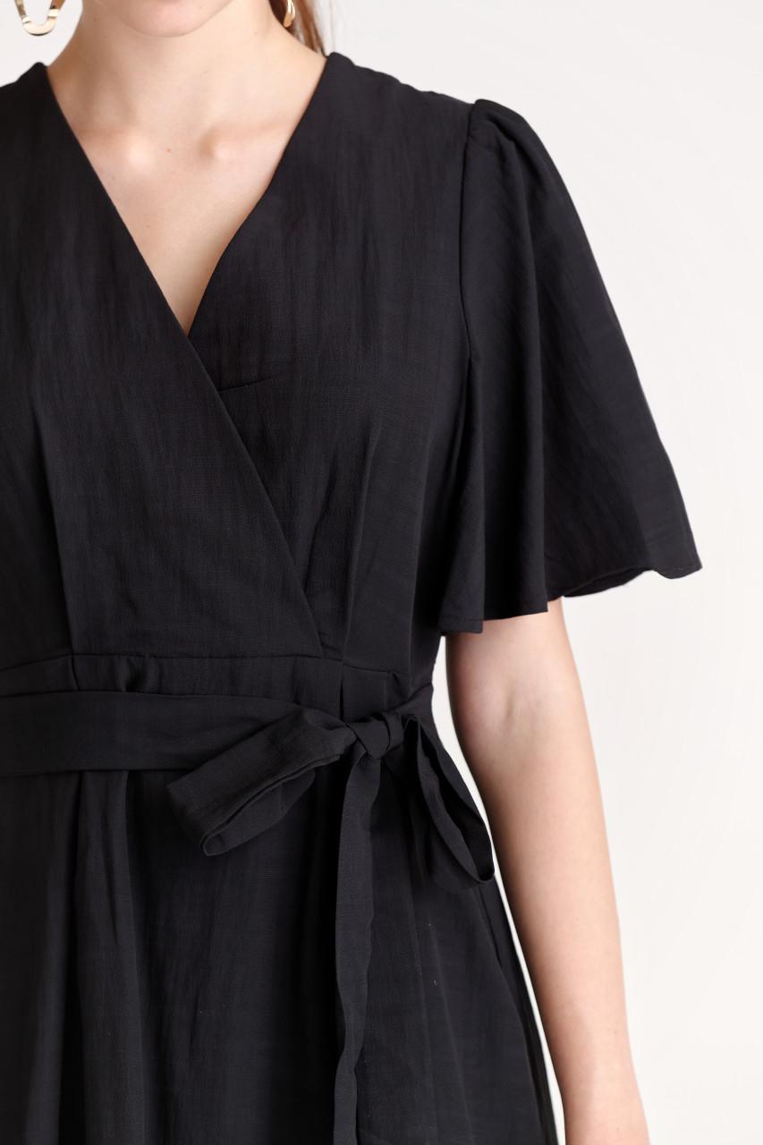 Black Wing Sleeve Mini Dress