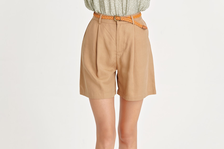 Tuck Belted Shorts