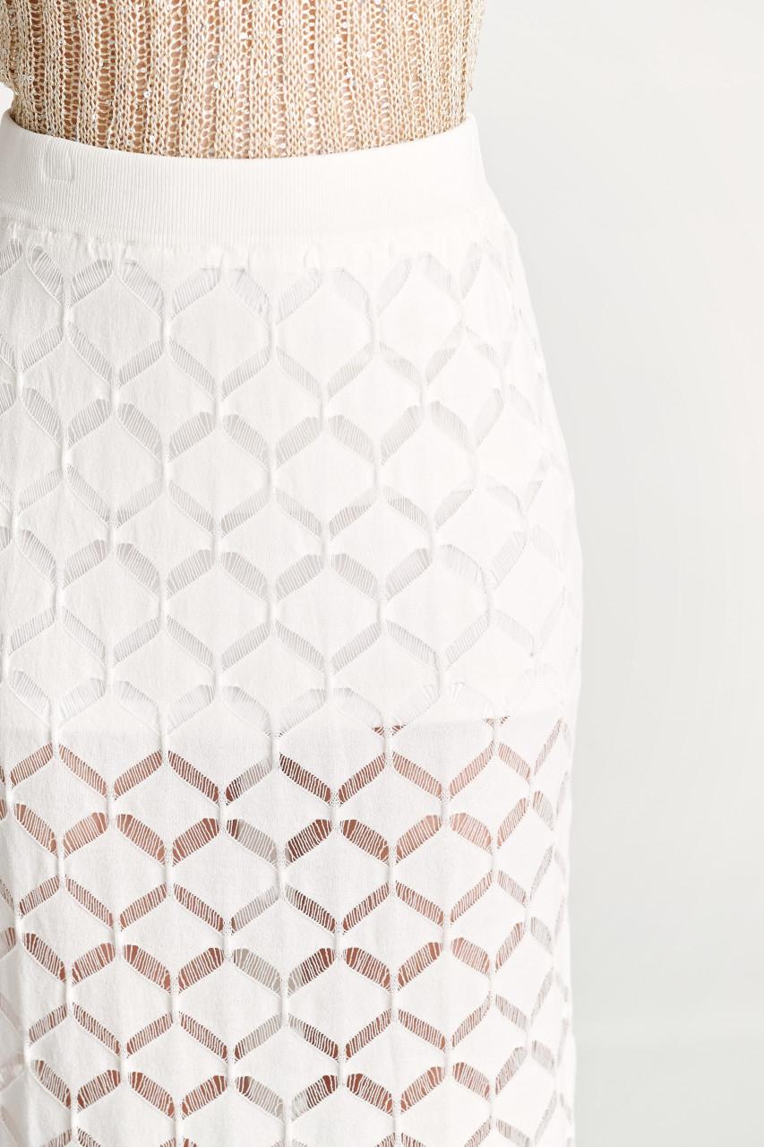 Crochet Knit  Backside Slit Skirt
