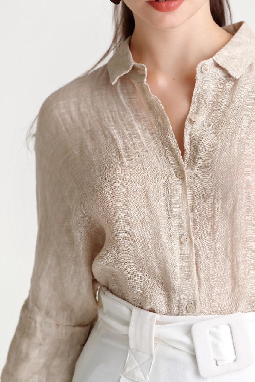 Linen Blend Drop Shoulder Shirt