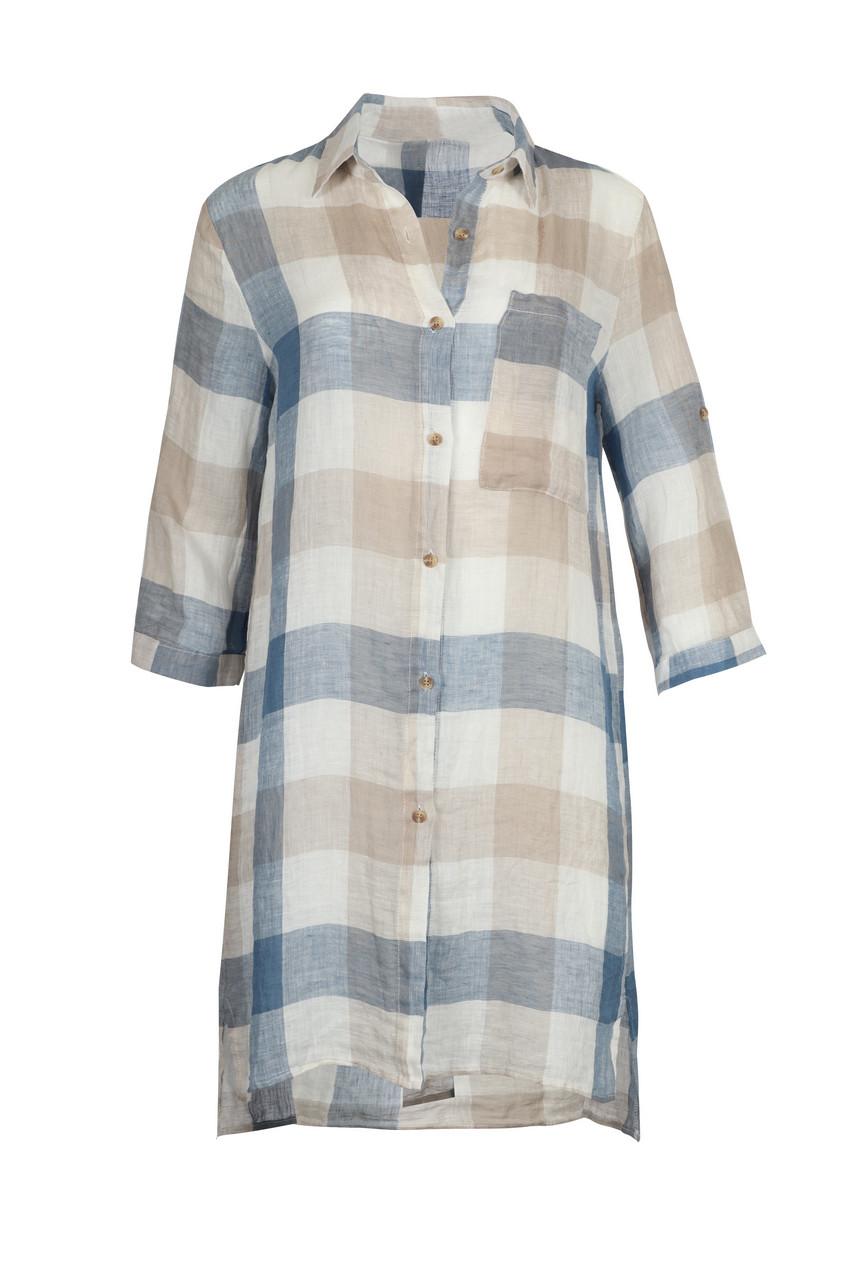 Linen Check Long Shirt