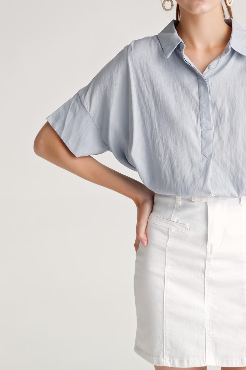 Dropped-Shoulder Hidden Button Shirt