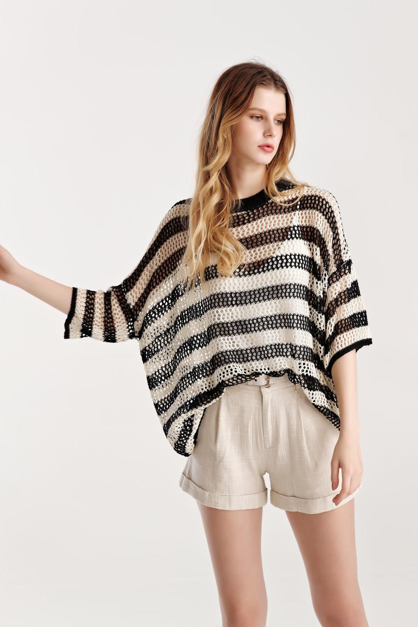 Stripe Drop Shoulder Net Knit Top