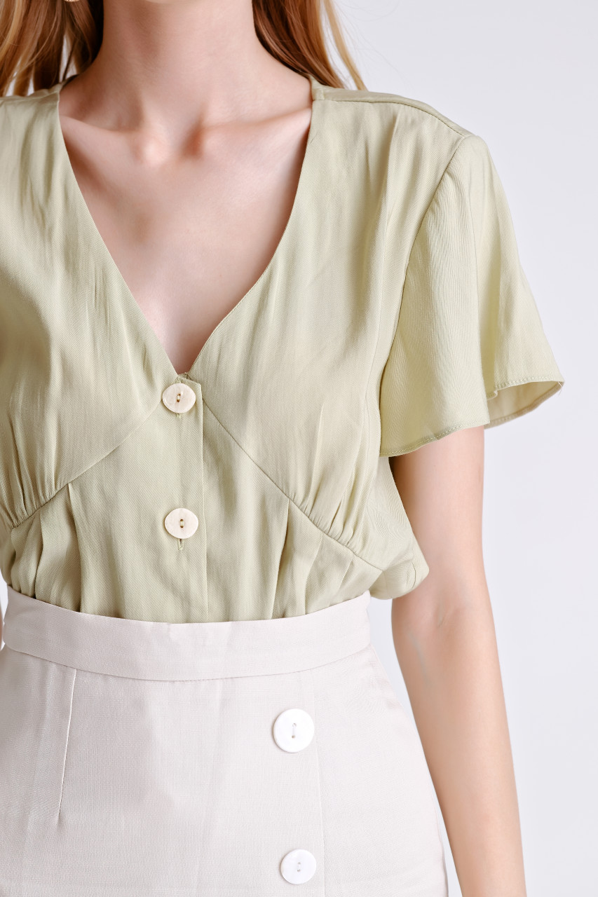 Wing Sleeve Big Button Shirt