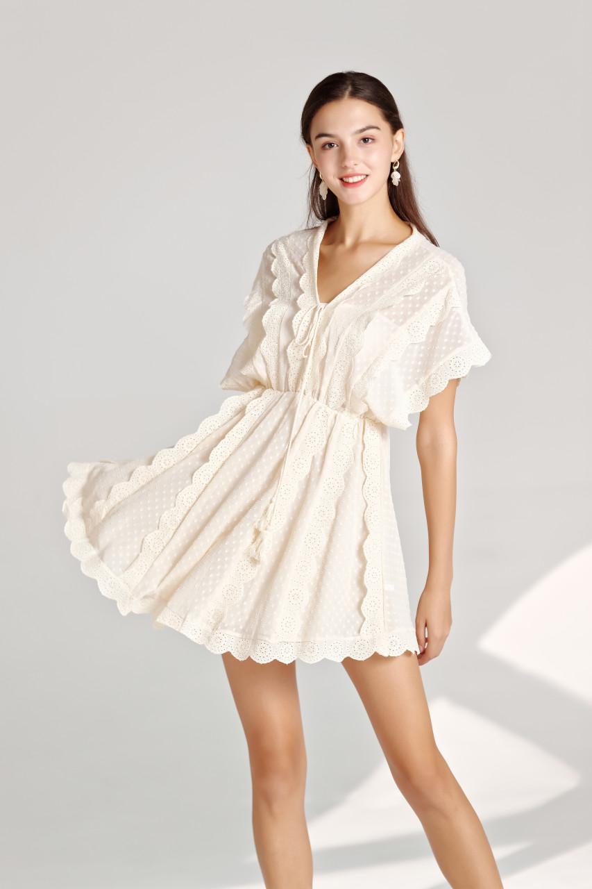 Casual Boho Lace Trim Jacquard Chiffon Mini Dress