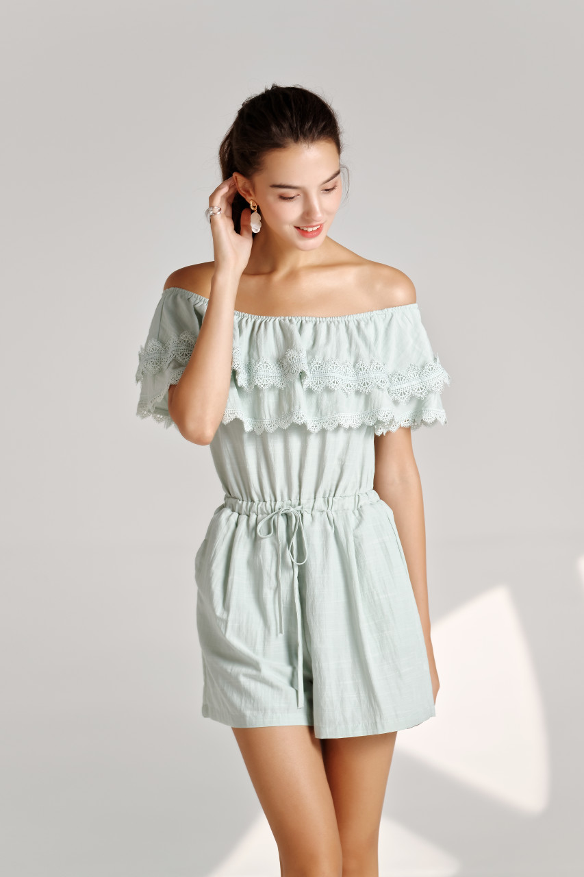Double layered Lace-Trim Off-Shoulder Playsuit