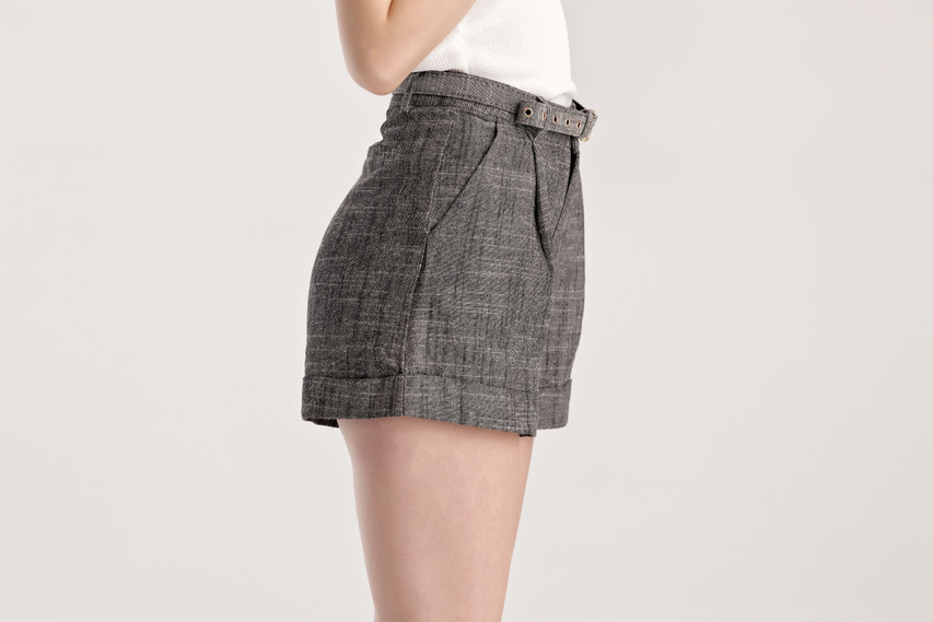 Linen Blend Belted Shorts