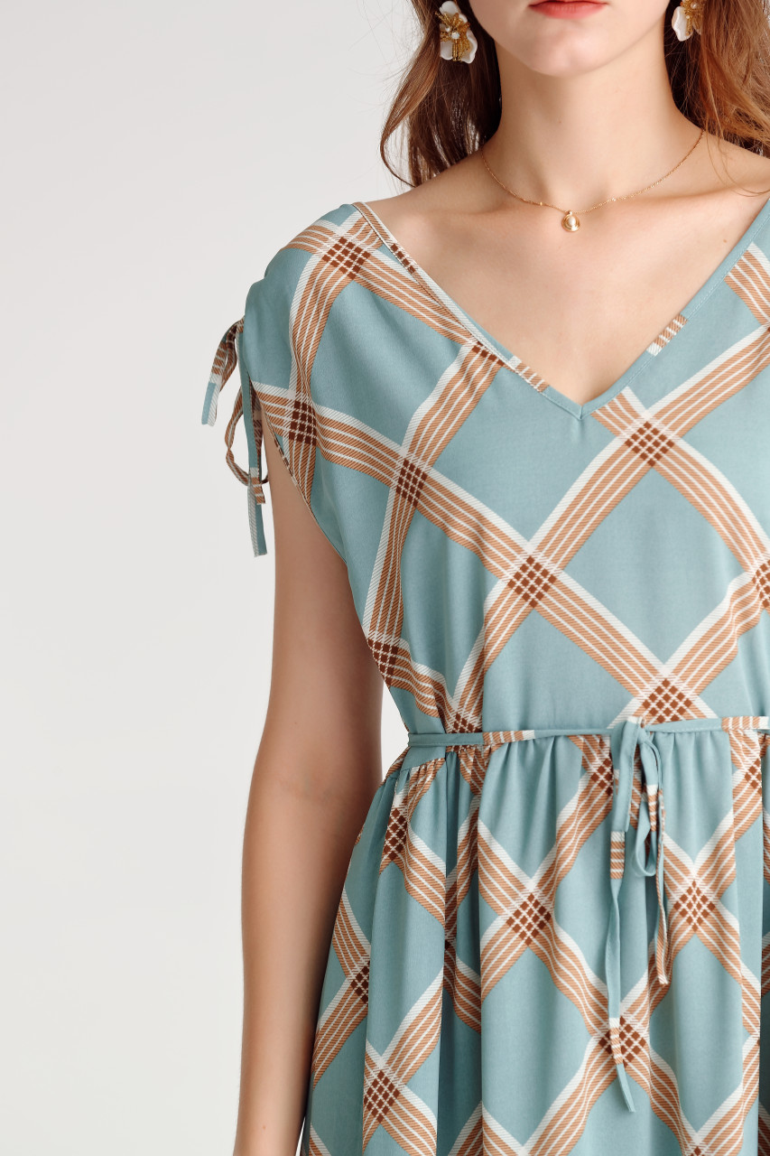 Check Tiered Dress
