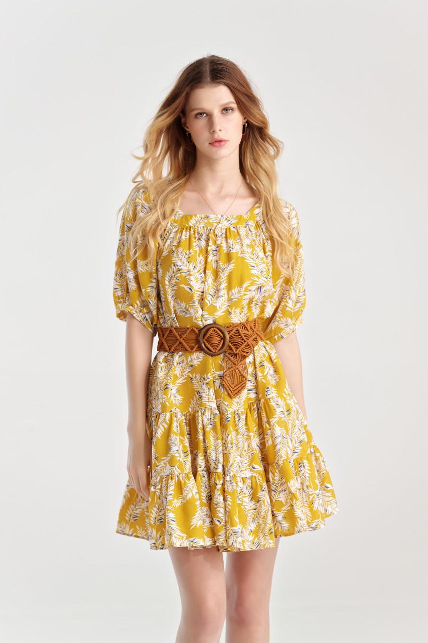 Print Frilled-Hem Dress