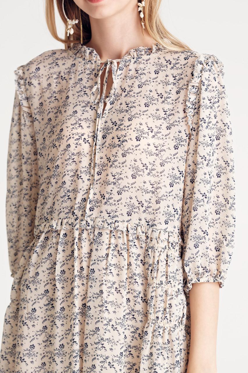 Chiffon Volume-Sleeve Dress