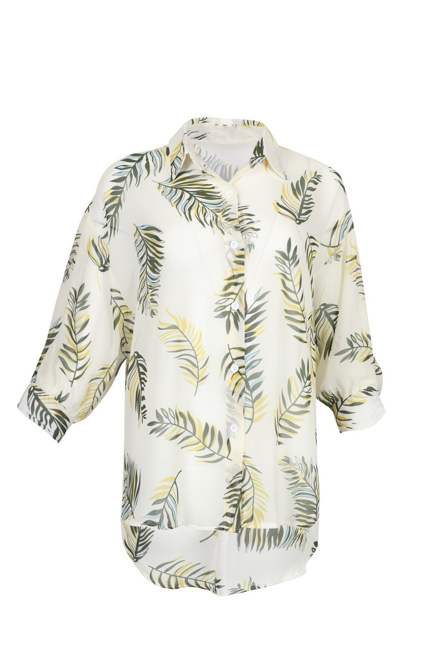 Sheer Leaf Print Shirt