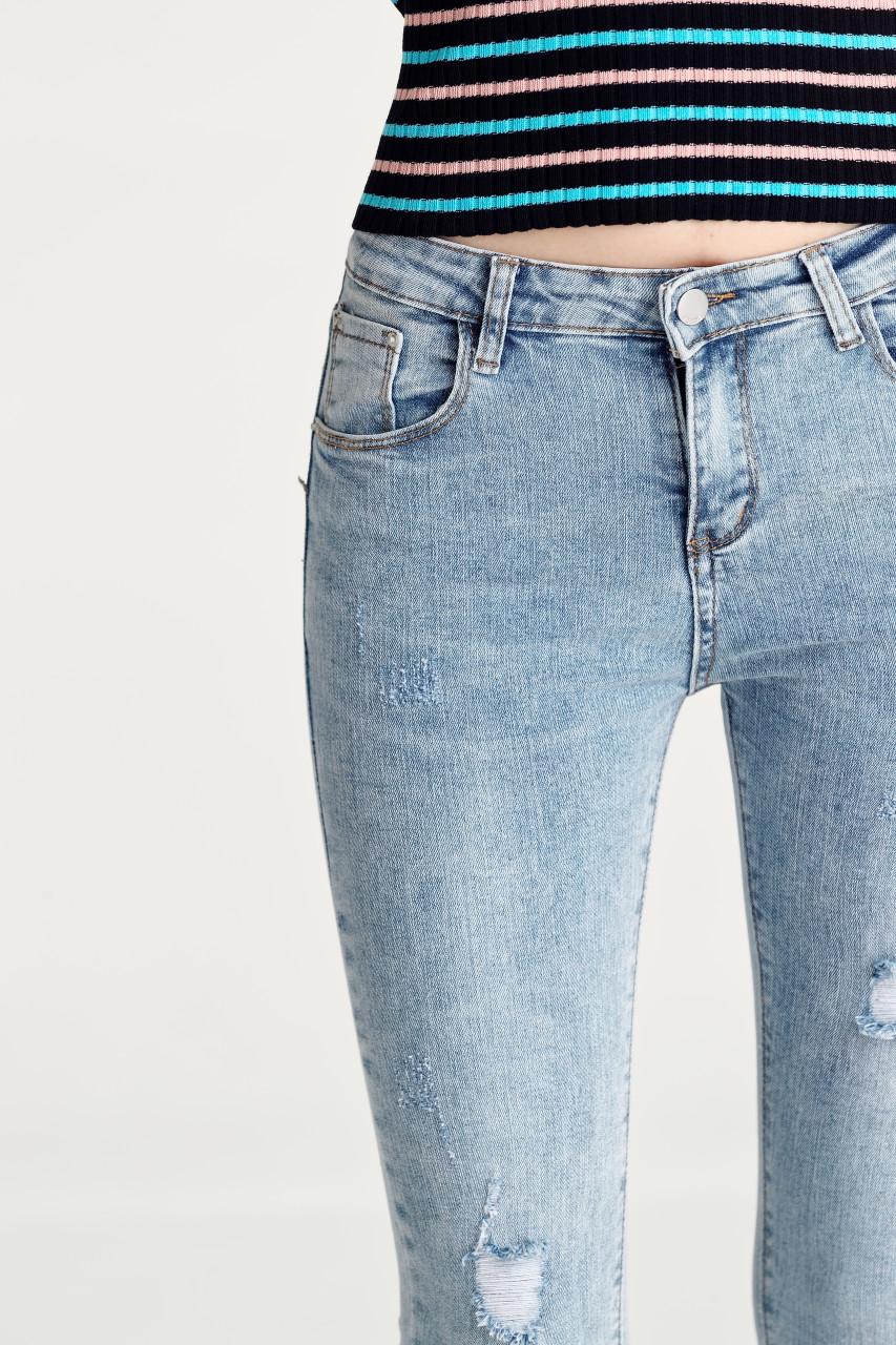 Washed Denim Skinny Pants