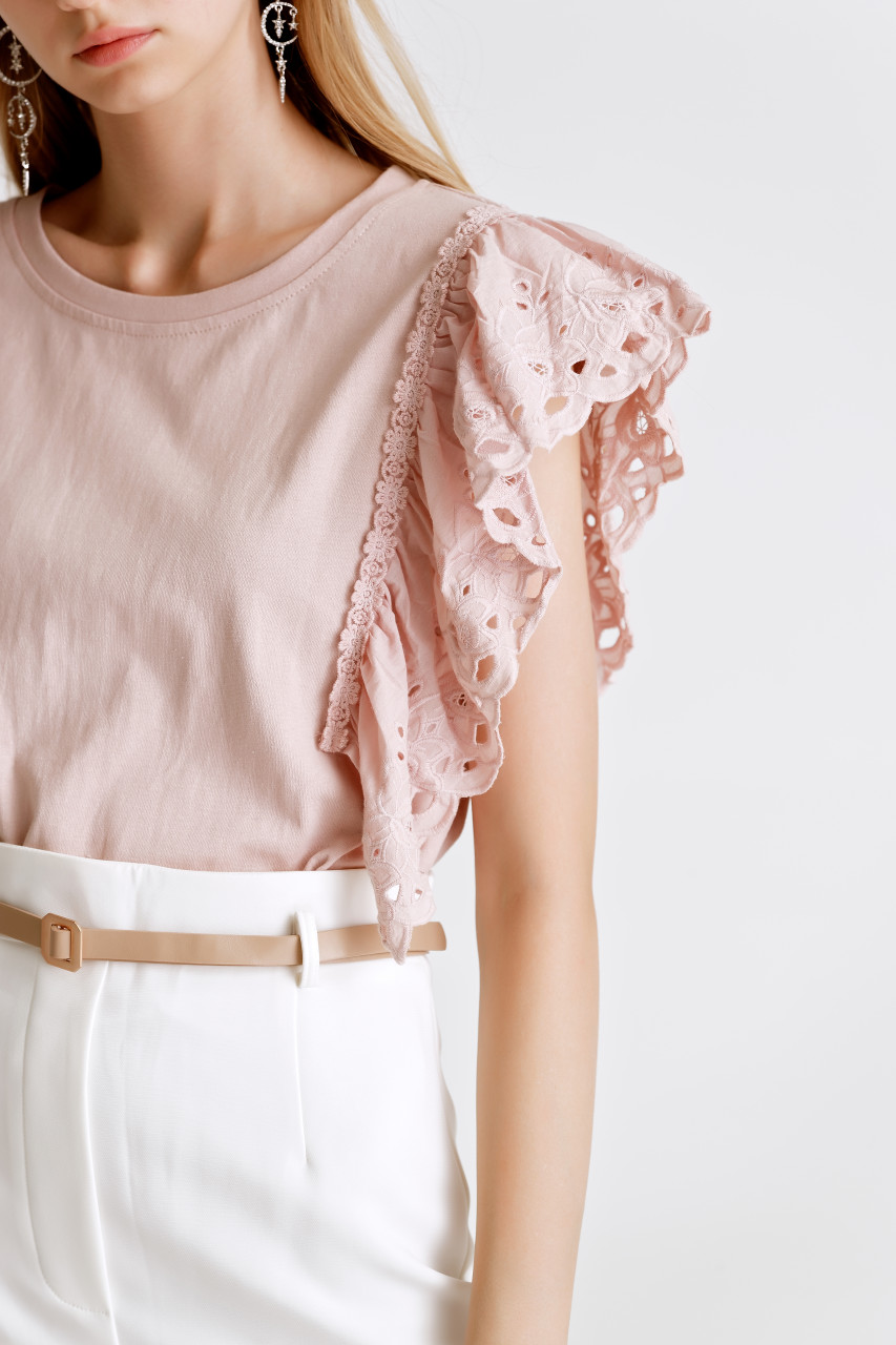 Lace Frilled Jersey Top