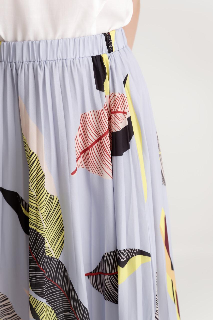 Leaf Print Pleats Skirt