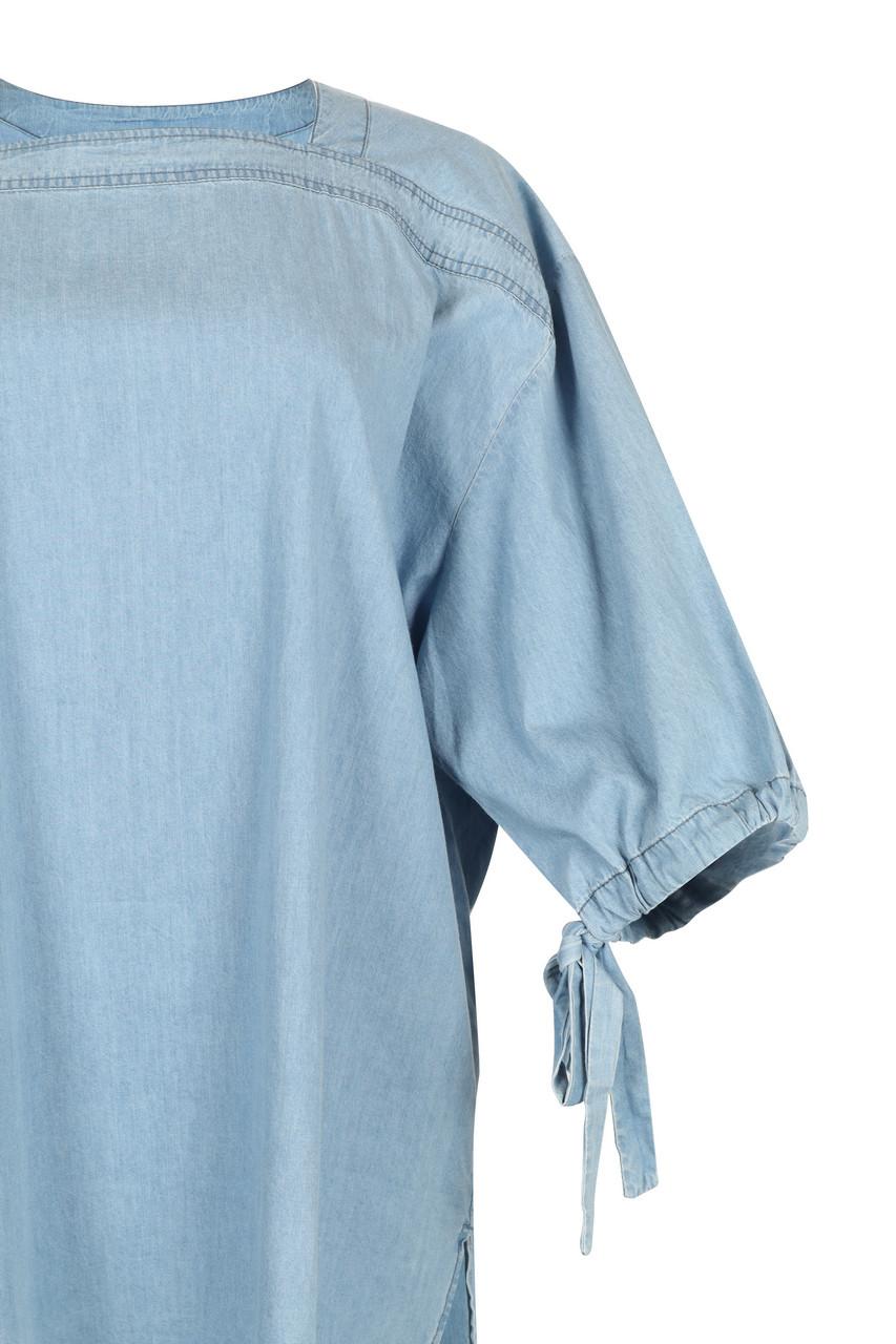 Denim Volume-Sleeve Top