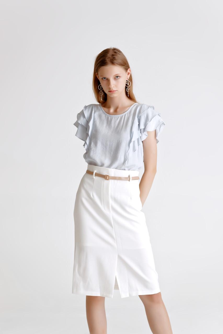 Belted Front-Slit Skirt