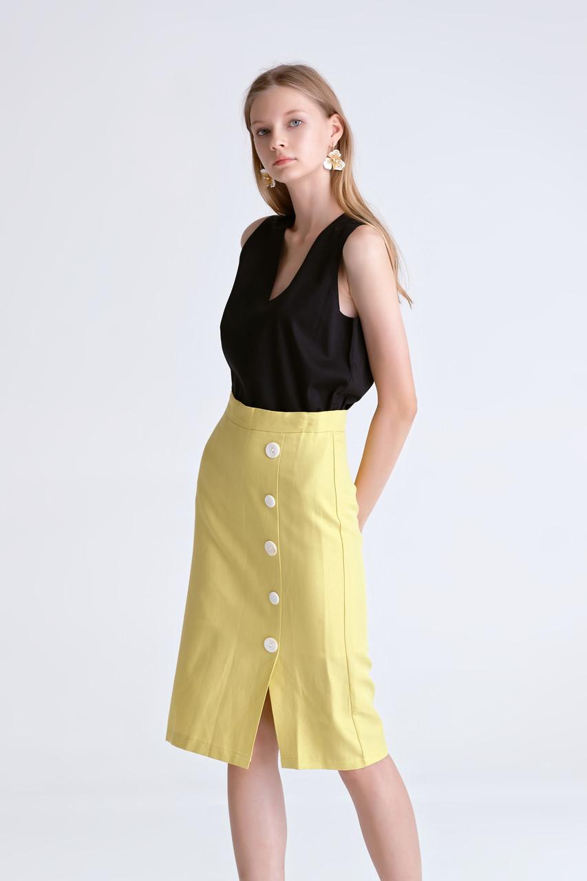 Side-Slit Button Skirt