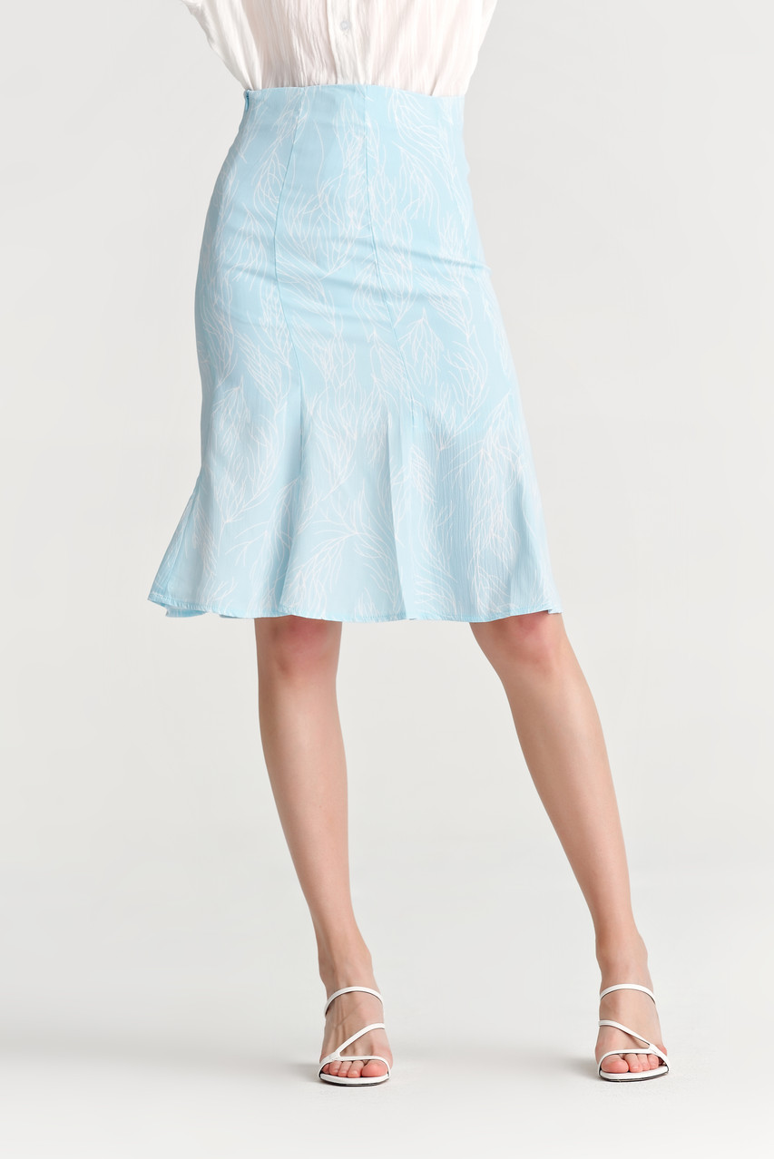 Drawing Print Flare Skirt