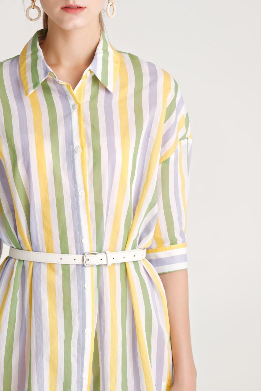 Stripe Short-Sleeve Shirt Dress