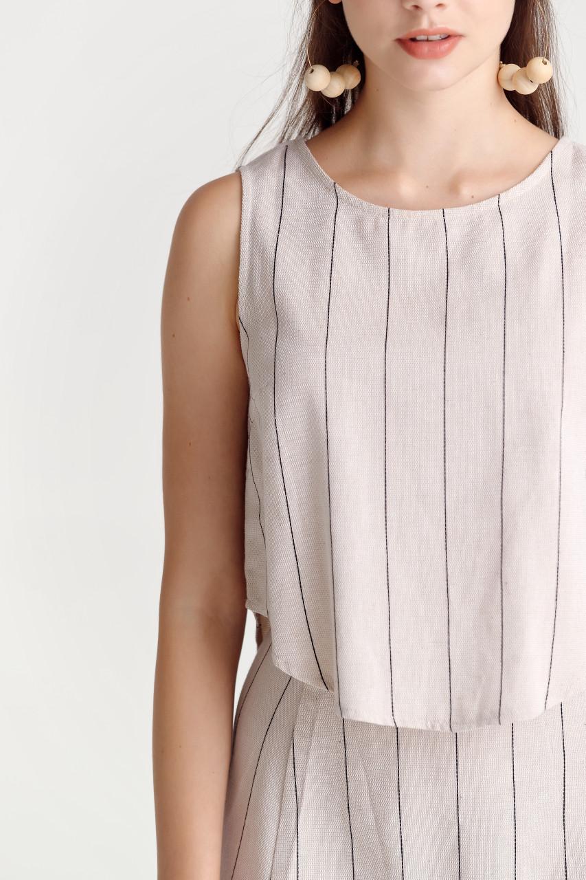 Linen like Stripe Tank Top