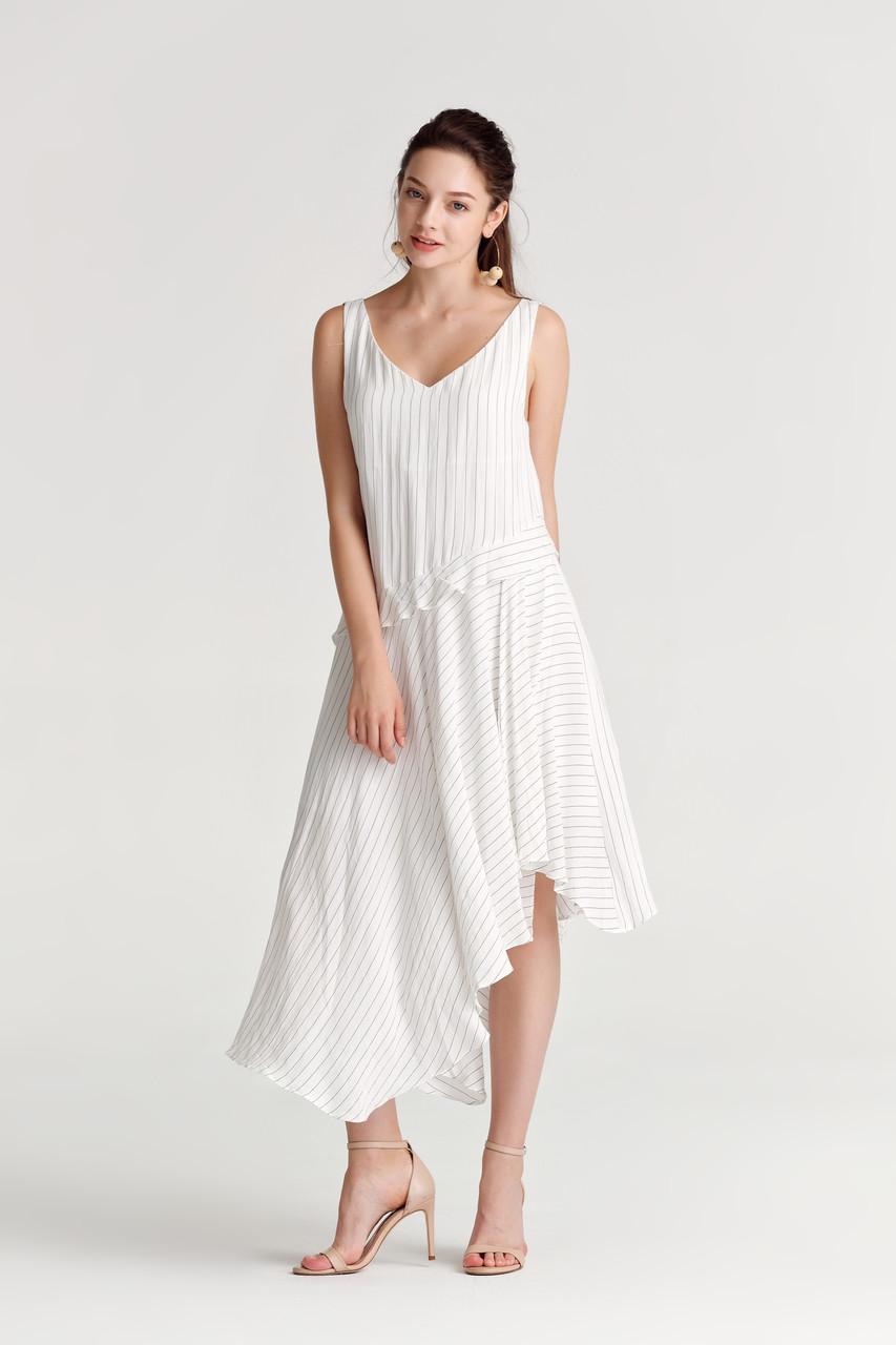 Stripe Uneven-Hem Dress