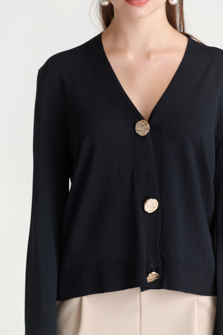 Big-Button Knit Cardigan
