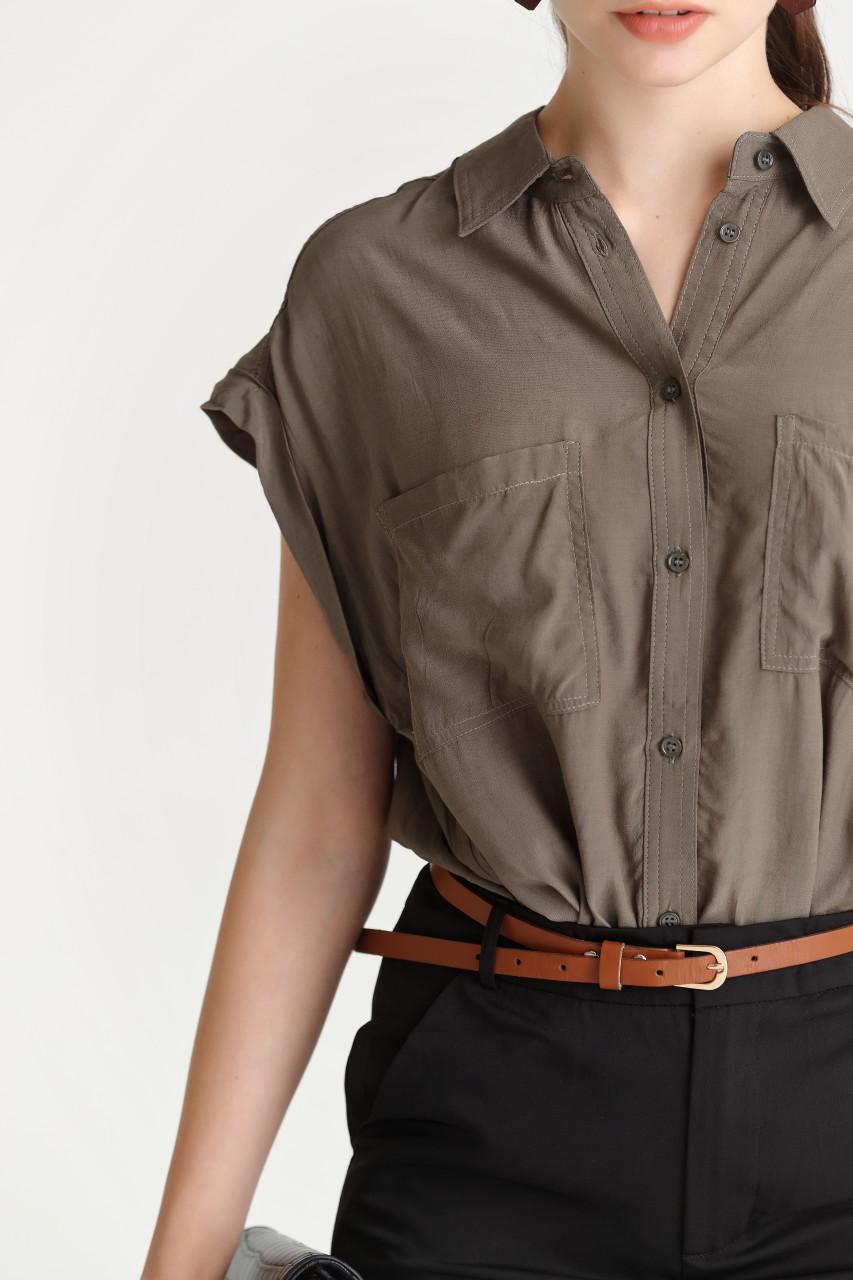 Dropped-Shoulder Sleeveless Shirt