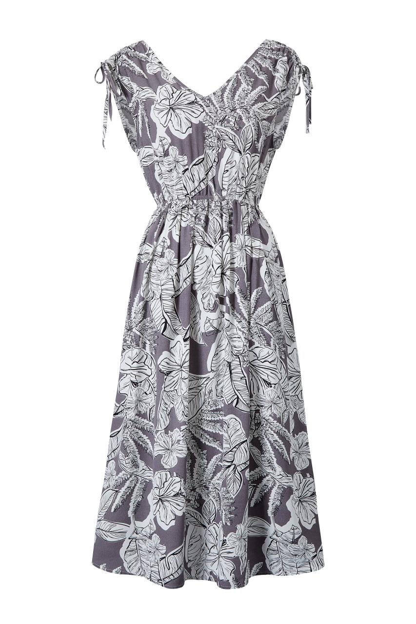 Leaf Print Shoulder-Strap Dress