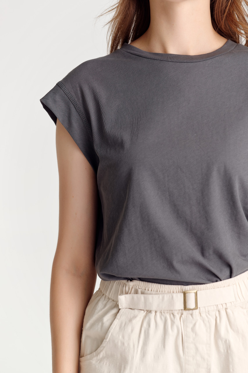 Dropped-Shoulder Crop Top