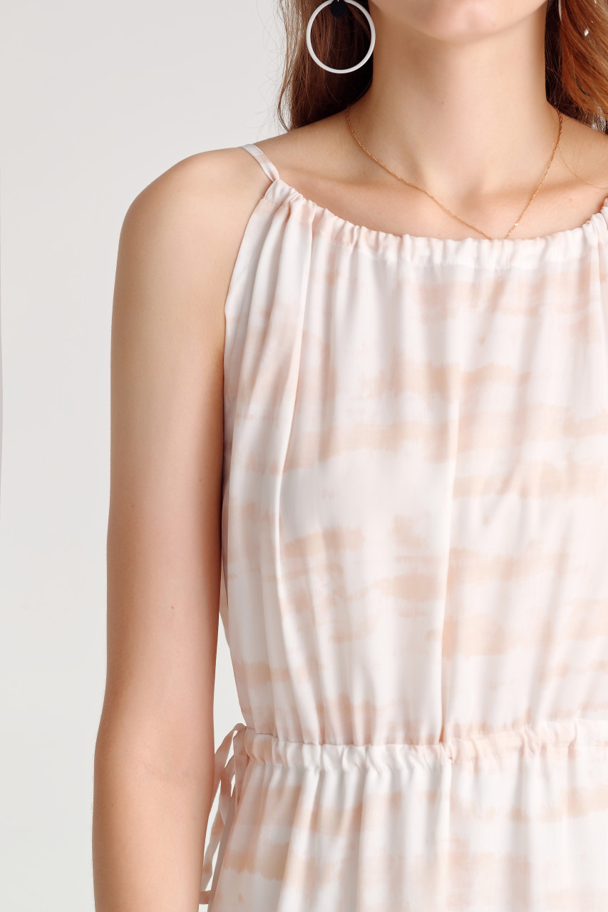 Abstract Print Shirring Dress